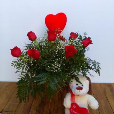 Amor - 6 +1 rosas rojas + corazón + peluche