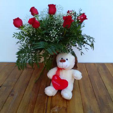 Caricia - Media docena de rosas rojas + peluche