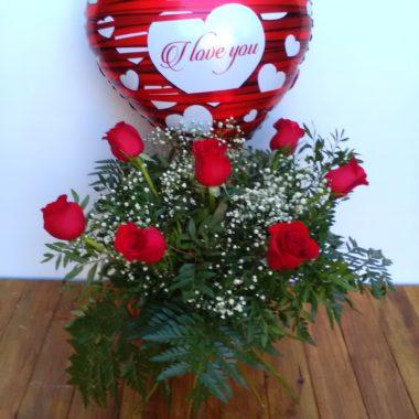 Forever - Media docena de rosas rojas + globo
