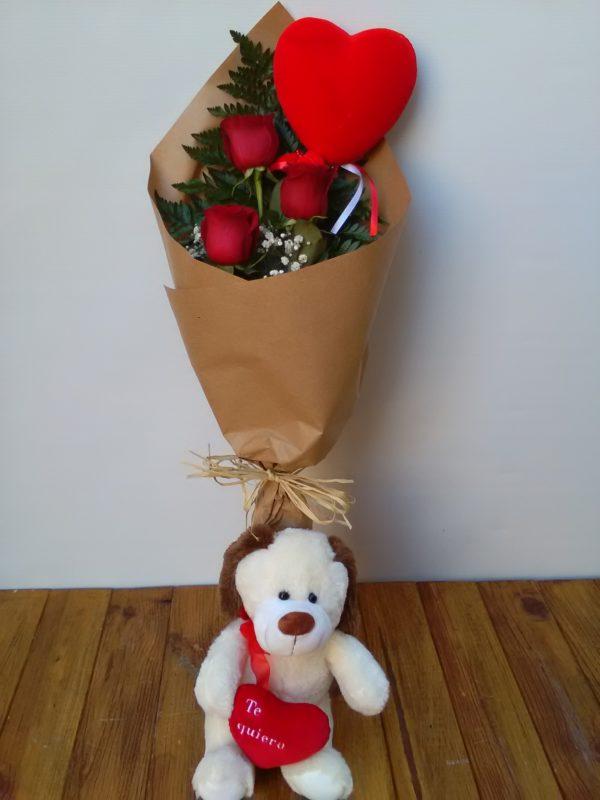 Juntos - 3 rosas + Peluche