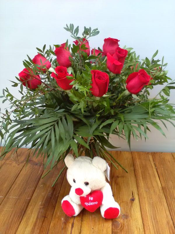 San Valentín - 12 + 1 rosas rojas + peluche