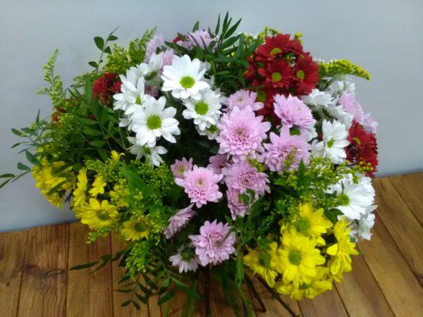 Silvestre - Bouquet margaritas multicolor + verdes decorativos
