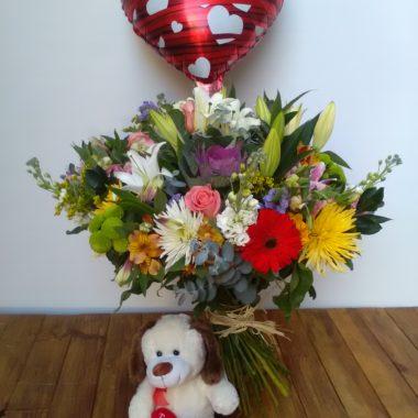 Bouquet Ilusión con peluche + globo